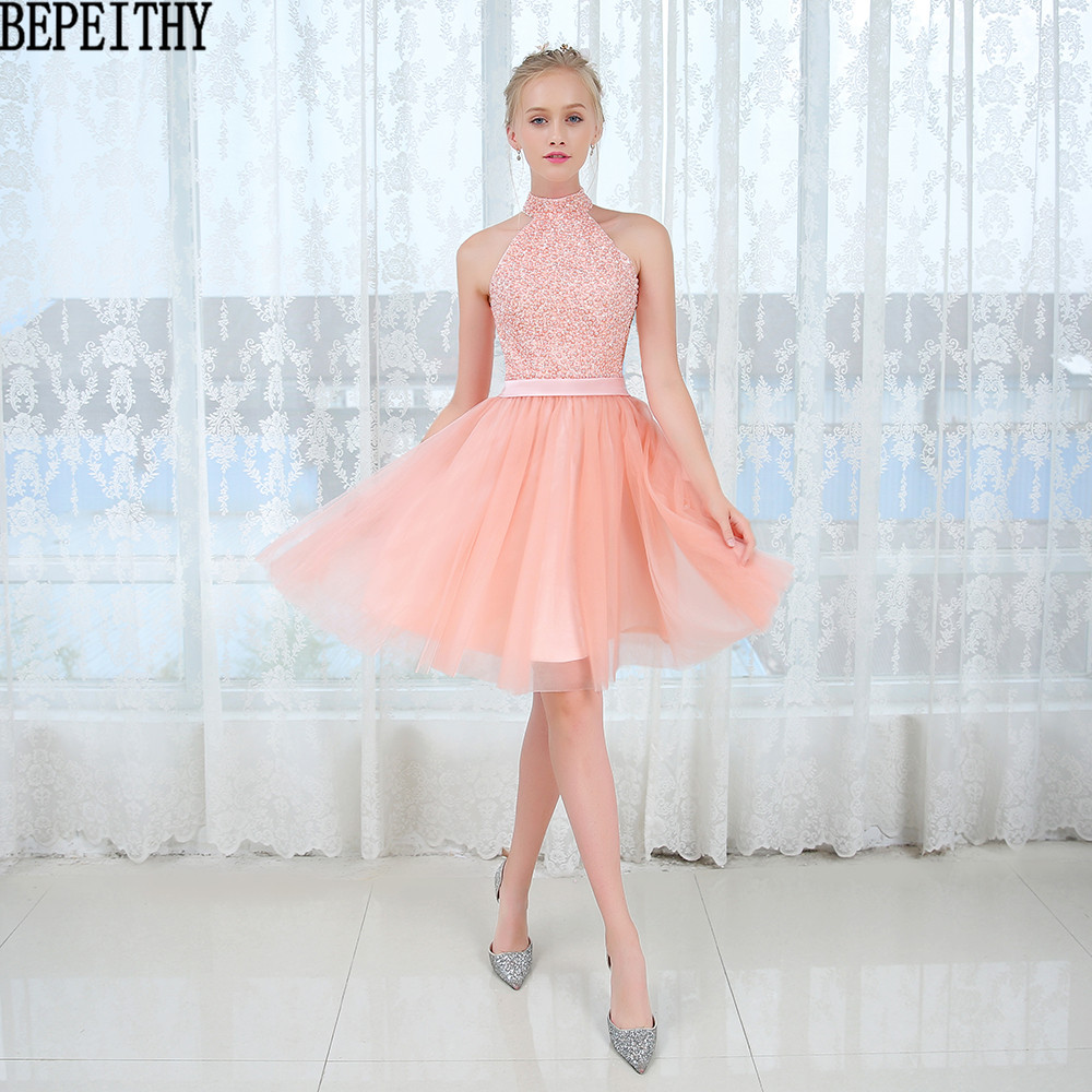 BEPEITHY vestidos de formatura Sexy New Arrival O-Neck Sleeveless Tulle Beads Short   Prom     Dress   2017