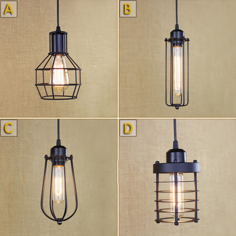 Loft Vintage Industrial Retro Pendant Lamp Edison Light E27 Holder Iron Restaurant Bar Counter Attic Bookstore Cage Lamp