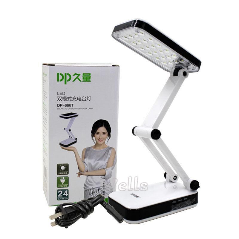 Lámpara de mesa led, batería Solar, recargable, plegable y ajustable, lámparas de escritorio con 24 LEDs, lámpara de carga de luz solar de lectura, AC220VLámparas LED de escritorio   -