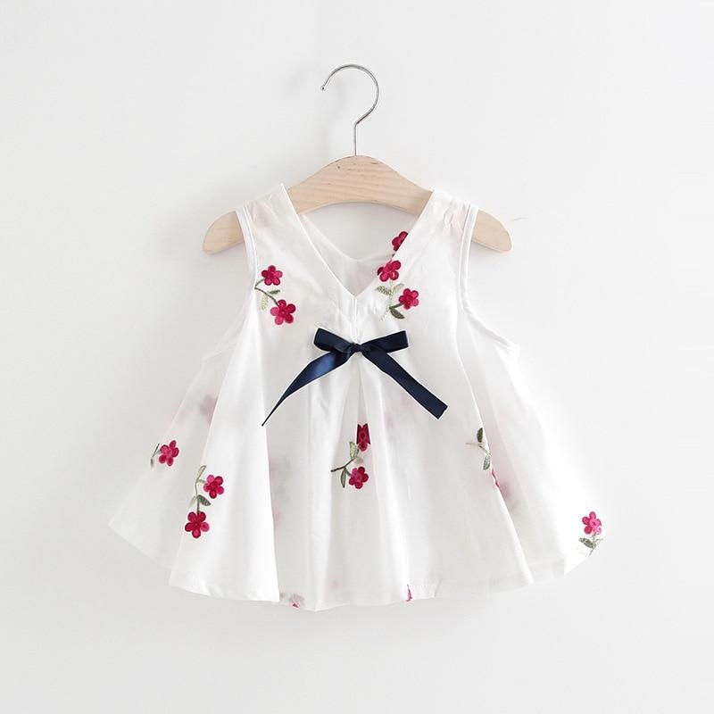 Little Girls Casual Dress Summer Children Clothing Embroidery Flower Cotton Dress Newborn Baby Princess Birthday Dress For Girls