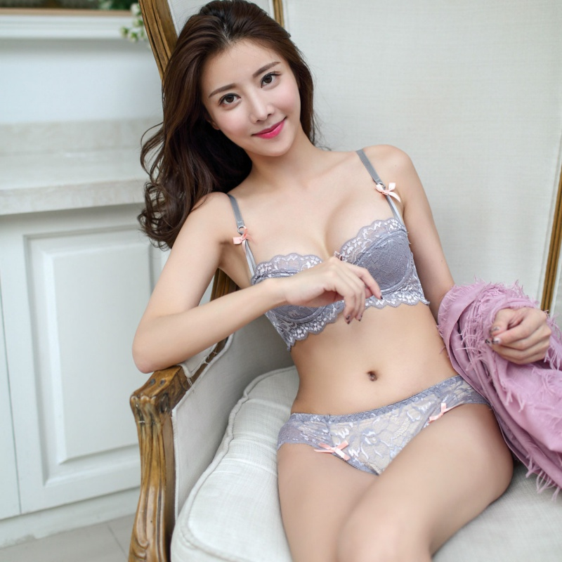 Women Sexy Full Lace Embroidery Flowers Thin Double Shoulder Strap Thickening Underwear Deep V-neck Push Up Bra Set