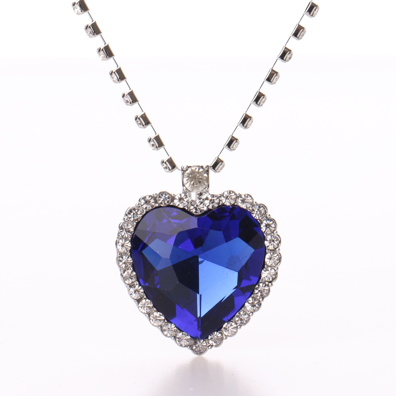 Top Quality Austrian Crystal Heart Of Ocean Heart Pendant Necklace,The Gift for Girl Friend Love Forever Christmas,Halloween image