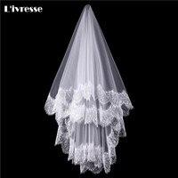 Simple White Ivory Tulle Wedding Veils One Layer Eyelash Lace Edge Bridal Veils Custom Made Bridal