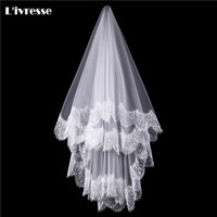Simple White Ivory Tulle Wedding Veils One Layer Eyelash Lace Edge Bridal Veils Custom Made Bridal