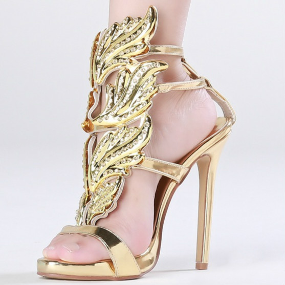 2016 sexy Rome stylish hollow out Stiletto heels party sandals diamond Leaf  buckle strap open toe woman summer shoes hot selling bffa9cb20fac