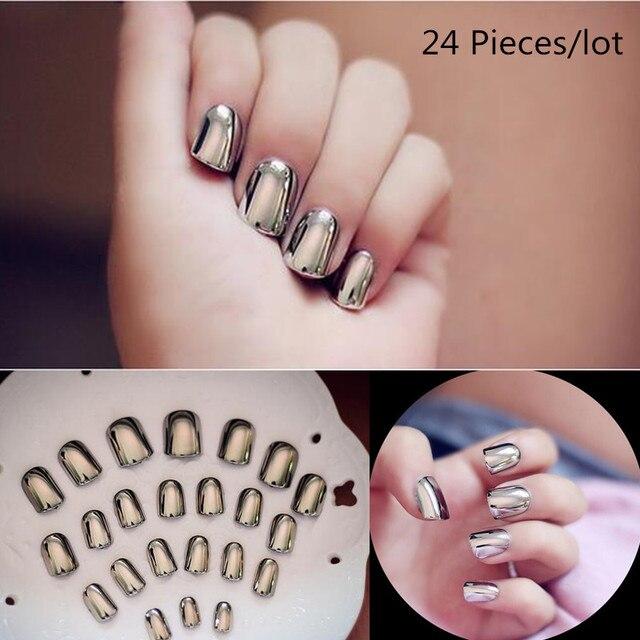 24Pcs/set Fake Nail stickers for nails Gel varnish Short Metal Smoke ...