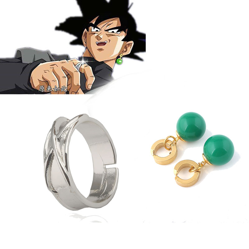 Anime Dragon Ball Z Dark Goku Figure Time Ring Halloween Cosplay Goku Agate Hoop Earrings Model Toy Dragon Ball Figure Boys Gift