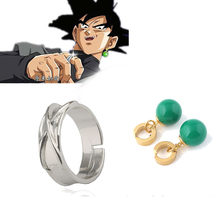 Anime Dragon Ball Z Dark Goku figuur Tijd Ring Halloween Cosplay Goku Agaat Oorringen Model Speelgoed Dragon Ball figuur jongens Gift(China)