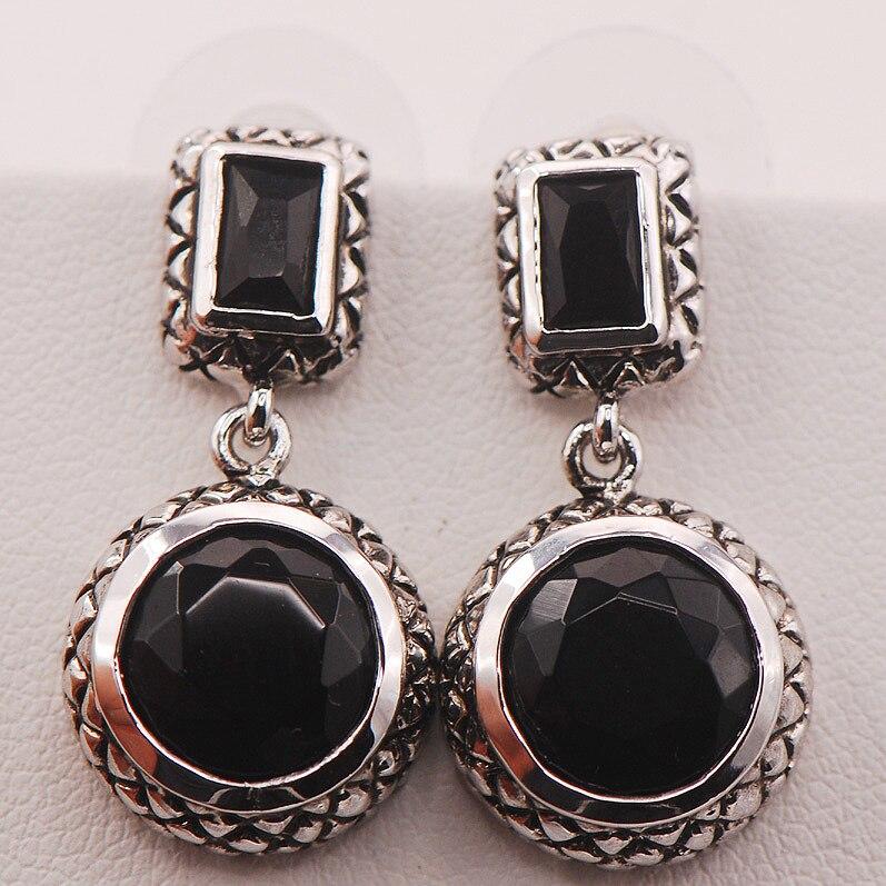 Black Onyx 925 Sterling Silver Earrings TE472