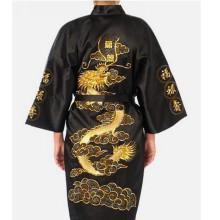Free Shipping Black Chinese Men's Satin Silk Embroidery Robe Kimono Bath Gown Dragon Size S M L XL XXL XXXL S0011
