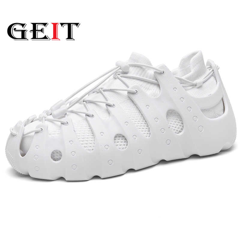 GEIT 2019 New Fashion Men Casual Shoes Women Mesh Shoes Socks Lovers Shoes Comfortable Non-leather Lightweight Shoes Size 35-45