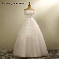 Forevergracedress New Design A Line Long Wedding Dress Applique Tulle Short Sleeves With Lace Up Back