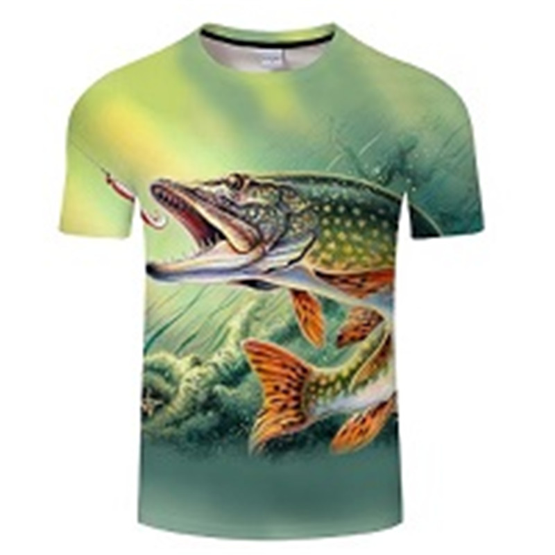 Новая футболка для рыбалки, стильная повседневная футболка с цифровым 3D принтом рыбы, мужская и женская футболка, летняя футболка с коротким рукавом и круглым вырезом, Топы И Футболки S-6XL - Цвет: TXKH430