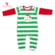Kaiya Angel Christmas Baby Boys Romper White Green Stripe Red Long Sleeve Boys Rompers Clothes Newborn Toddler Boys Clothing