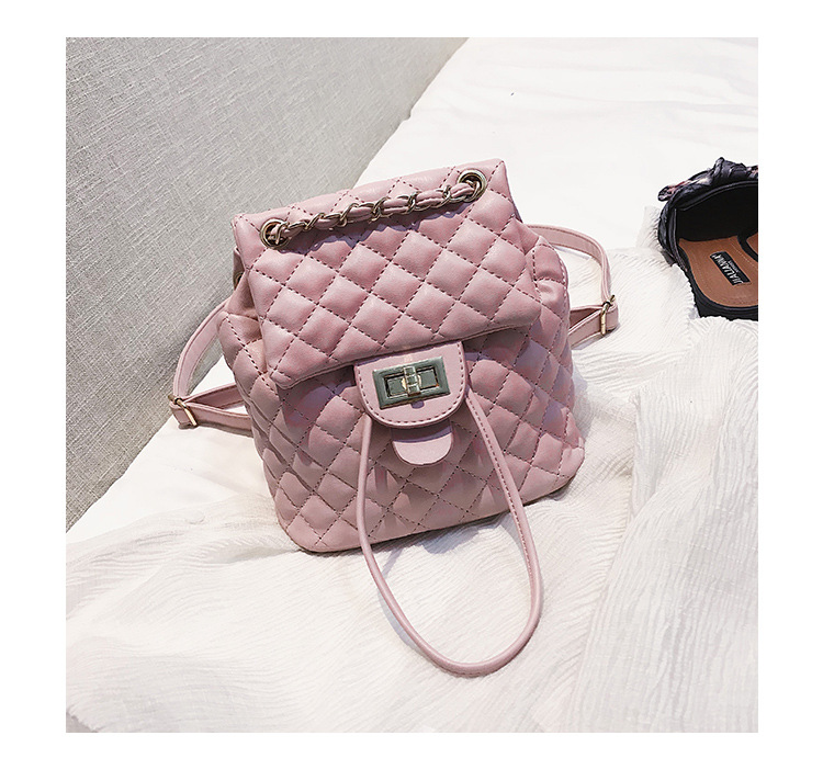 New Women Backpack PU Leather Plaid School Bag Travel Bag Chain Shoulder Bag