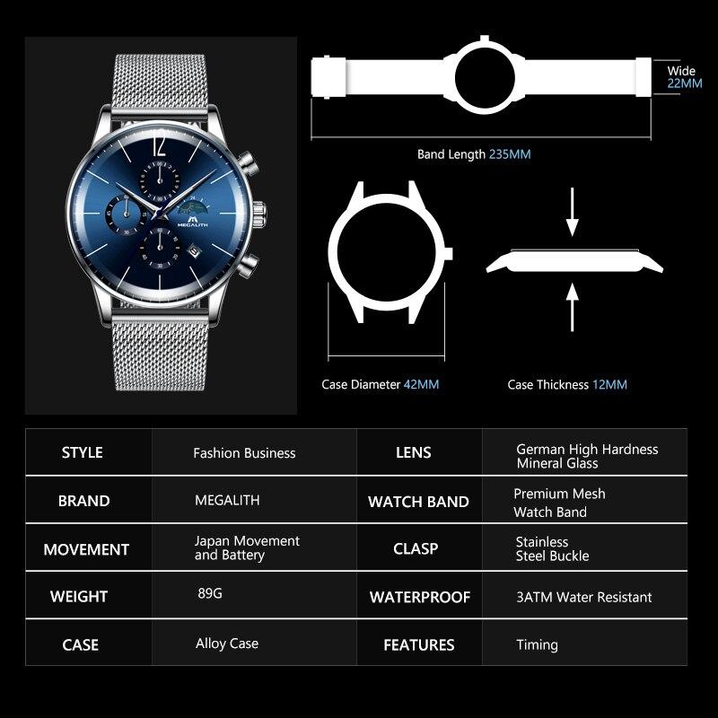 Image 4 - Megalito de moda relojes para hombre de azul de marca cara resistente al agua deporte cronógrafo de cuarzo reloj de pulsera para hombres reloj Relogio MasculinoRelojes deportivos   -
