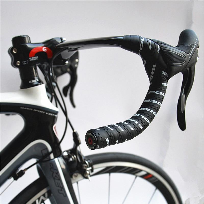 2 Bar Plugs Padded Road Bike Handlebar Tape PU Road Racing Bike Handlebar Wrap