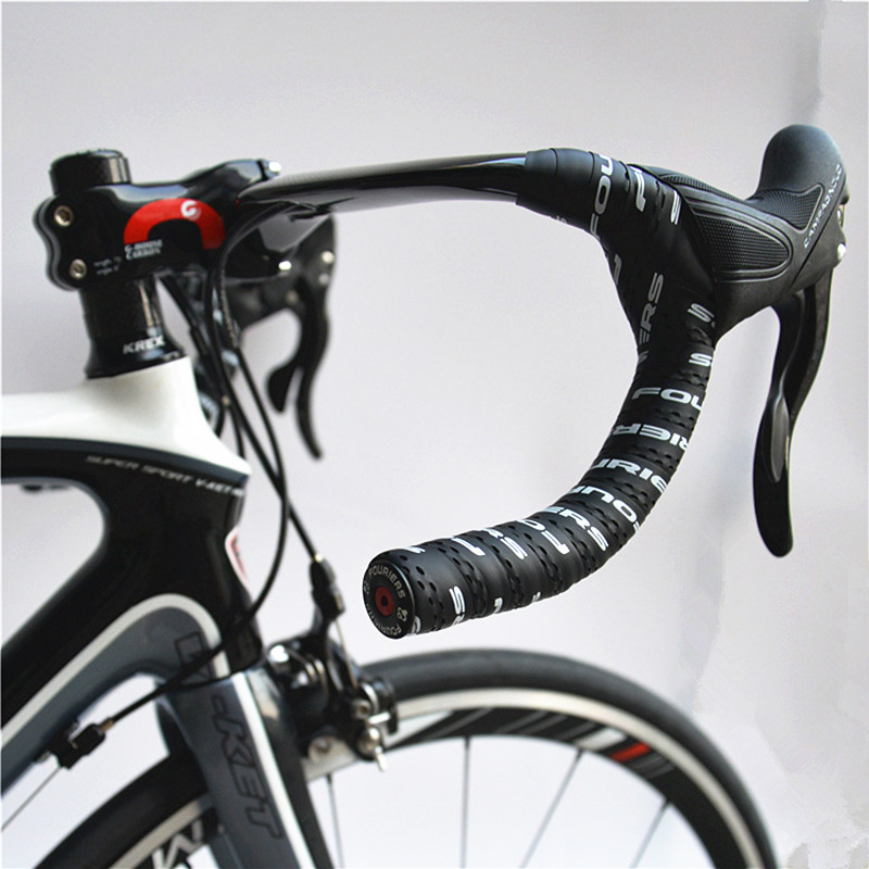 Fouriers handlebar tape&alloy ends Fixed Gear road bike handlebar tape PU material bike tape Bicycle Accessories fouriers bicycle drop handlebar tape wraps pu fixed gear road bike handle bar tapes belt with holes pair with ends