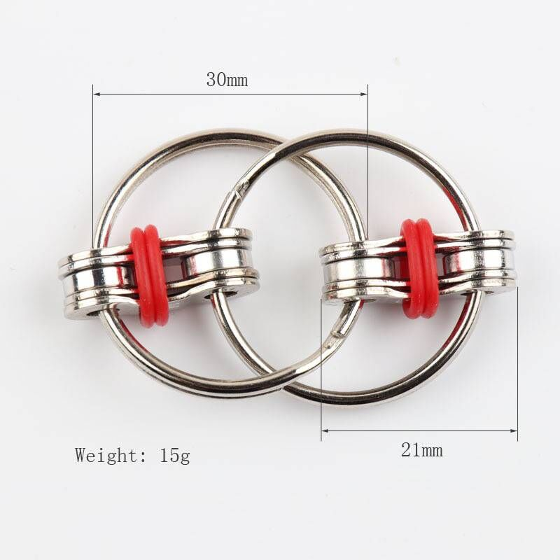 Fidget-Toy Key-Ring Top-Puzzles Hand-Spinner Sensory Toys Autism ADHD Metal Chain Stress-Relieve img5