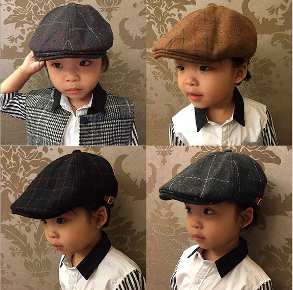 73e92f68 2016 Spring Autumn Style Children Hats Baby Cap Berets Fashion Plaid Caps  Baby Boy Hat Beret Boina Flat Cap for Kids 1-2 Years