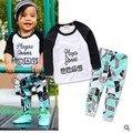 2017 детские Мальчики девочки Повседневная одежда Устанавливает детский Костюм С Длинным рукавом Блузка + брюки Летние дети набор