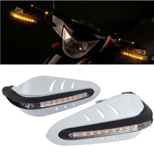 White Universal Handlebar Hand Protector With LED Daytime Running Light High Impact Plastic Motorcycle Hand Guards