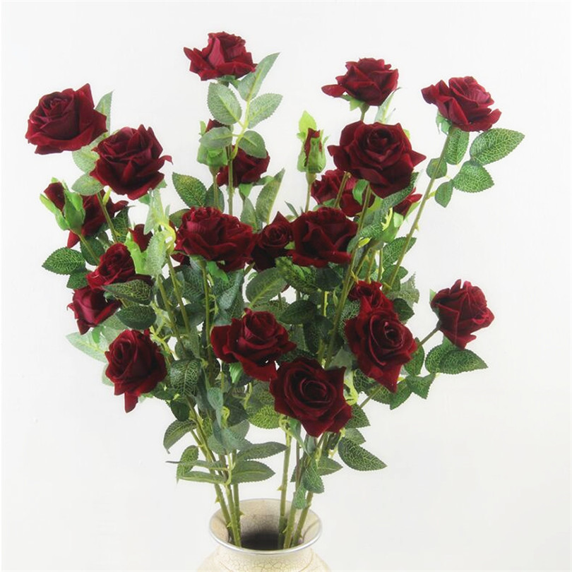 10pcs artificial long stem rose 5 heads velvet roses simulated flowers red pink cream burgundy color