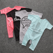 цена на 2019 Summer Baby Girls Romper Short Sleeve Cotton Infant Jumpsuit Letter Printed Baby Boys Rompers Newborn Bebes Clothes 4 Color
