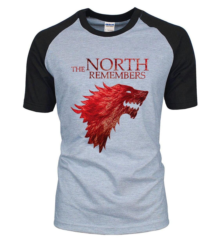 Game Of Thrones Haus Stark Norden Erinnert Herren Raglan T Shirts 2018 Sommer 100% Baumwolle Tops Tees herren Kurzarm Hemd