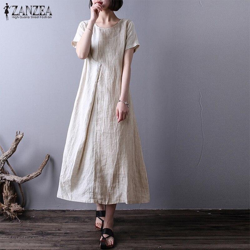 2f802522609 Plus Size 2018 ZANZEA Women Striped O Neck Short Sleeve Summer Party Casual  Loose Cotton Linen