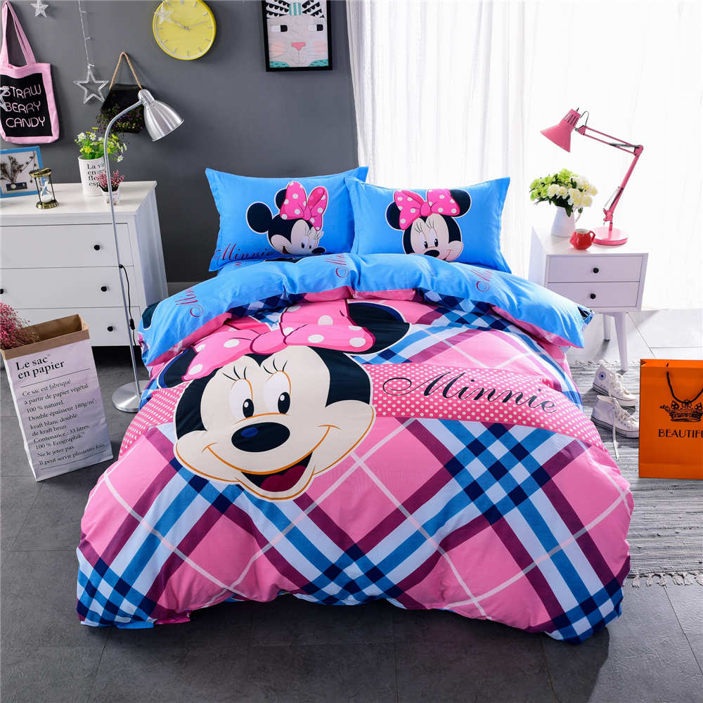 Baby bed quilt size - Pink Blue Stripe Minnie Mouse Print Bedding Set Quilt Duvet Covers Bedspreads Children Baby Bed Twin Full Queen King Size Cotton