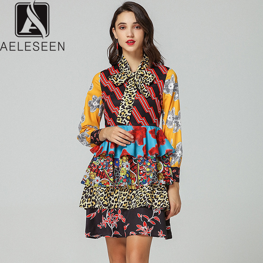 Aeleseen Fashion Designer Dress 2019 Runway Women S Long Sleeve Ruffles Bow Collar Leopard Ethnic Spring Printed Dress Vestido Dresses Aliexpress