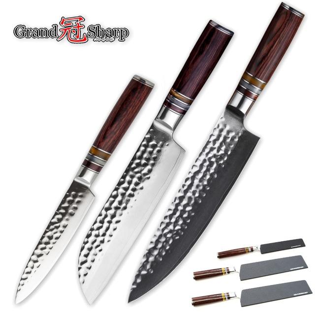 3 Pcs Knife Set Japanese Steel Kitchen Knives Damascus Kitchen Knife Hammered Blade Japanese Knives Best Gift Chef Santoku Fruit