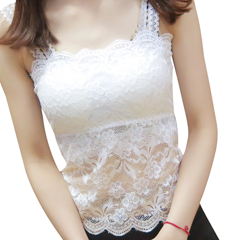Summer Lace Sling Girl Tube Top Vest Sexy Beautiful Back Lace Wrapped Chest White Short A2-NY01