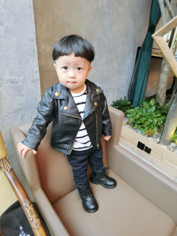 Wind PU Leather Leather Coat Baby Boys and Girls Short Children Jacket 19