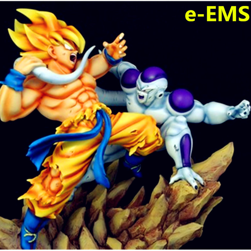 GK 1/6 Dragon Ball Super Saiyan Goku VS Long-queue Freezer Statue En Résine Ameublement Articles G1684