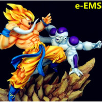GK 1/6 Dragon Ball Super Saiyan Son Goku VS Long tail Frieza Resin Statue Home Furnishing Articles G1684