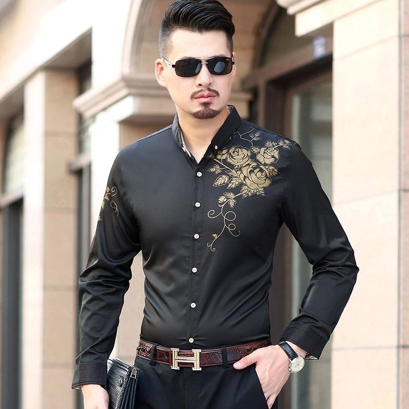 7XL 6XL 5XL-M Plus Size Shirt Men Fashion Luxury Print Mens Casual Long Sleeve Shirts Business Slim Fit camisa social masculina