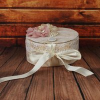 Champagne Princess Lolita Jewelry Box Embroidery Lace Flowers Pearls Rhinestone Cosmetic Storage Box For Girls Gifts