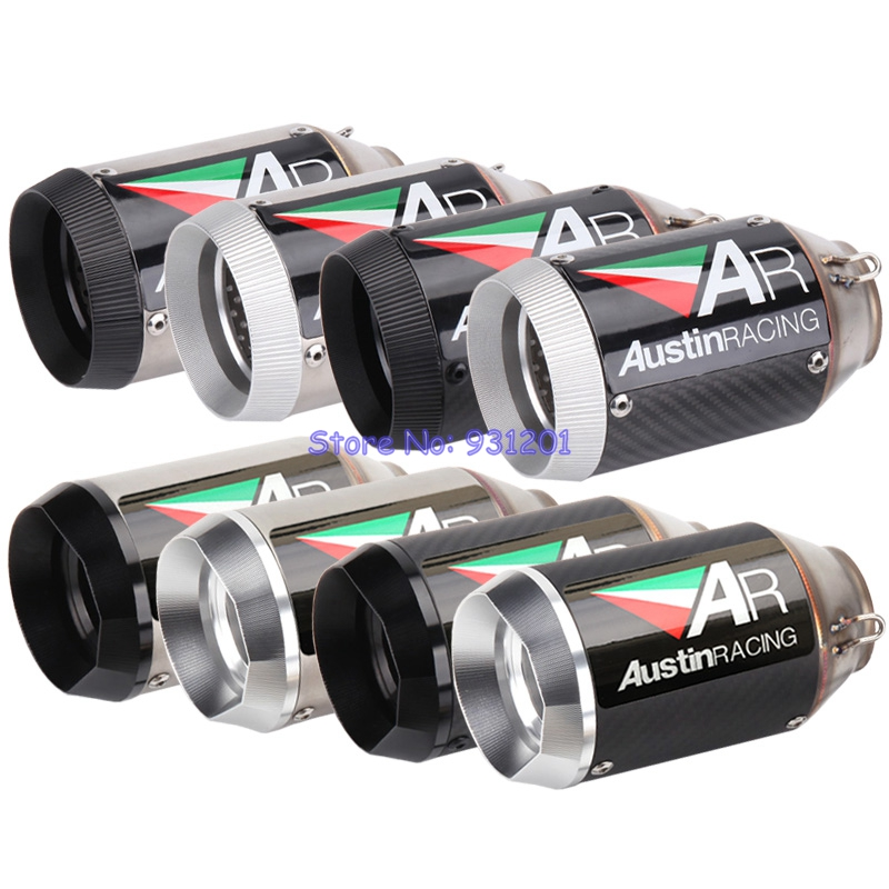 Inlet 51mm Motorcycle Exhaust Pipe Carbon Fiber AR Exhaust Silencer Muffler Escape Universal for R1 Z900 Z1000 ZX6R ZX10R etc.