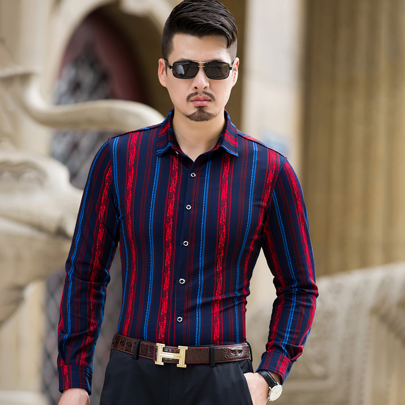 98b7515c3 MarKyi fashion spring striped mens long sleeve silk shirts good quality  slim fit cotton shirts men plus size 7xl-in Casual Shirts from Men's  Clothing on ...