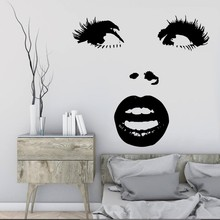 Free Shipping Wall Sticker Beautiful Woman Curved Eyes Lips Decal Home Decoration Mural Eco-Friendly Y-383