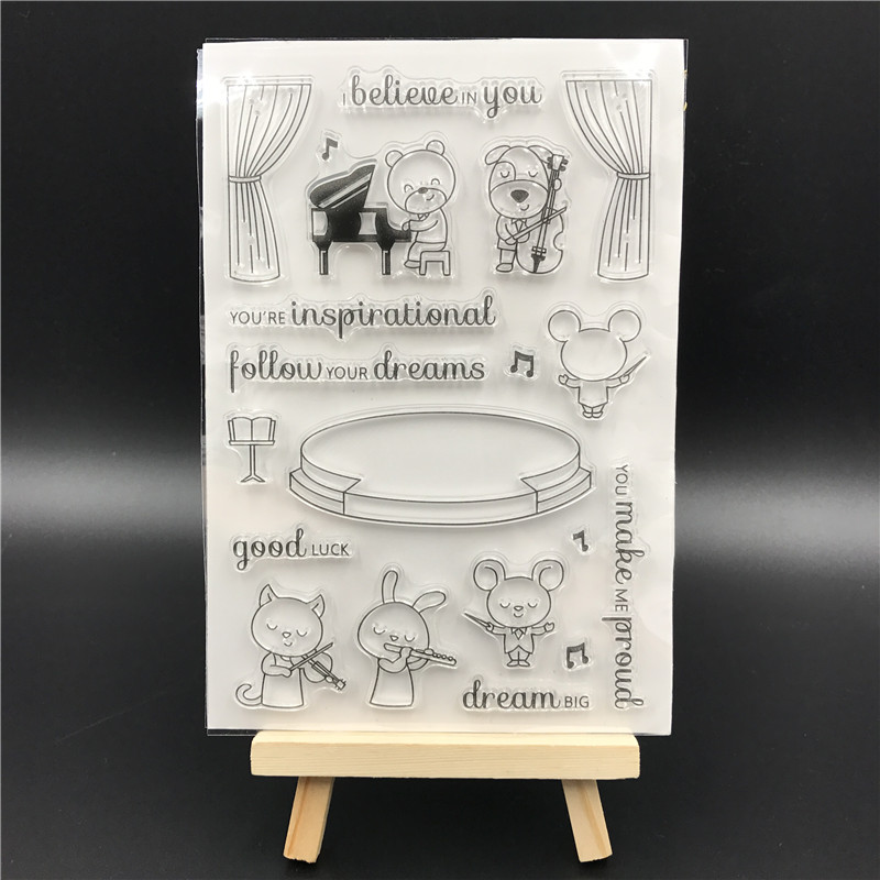 Sweet Symphony Transparent Clear Silicone Stamp/Seal for DIY scrapbooking/photo album Decorative clear stamp sheets A521 lovely animals and ballon design transparent clear silicone stamp for diy scrapbooking photo album clear stamp cl 278
