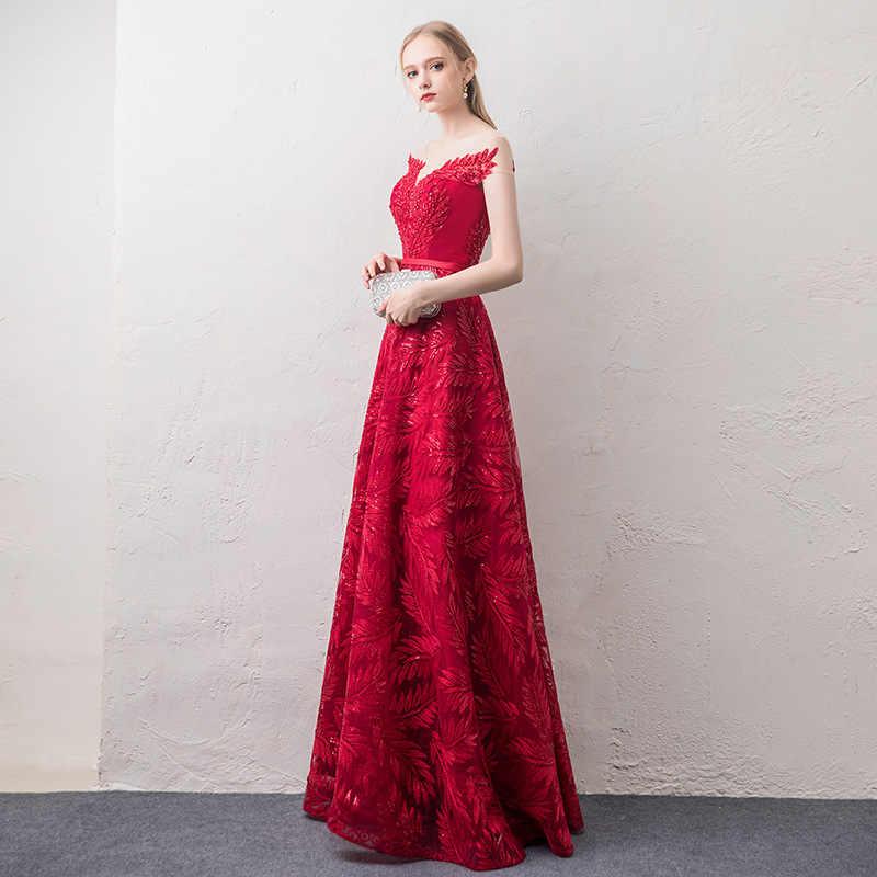JaneVini 2018 אלגנטי קו ורגונדי נצנצים ארוך שושבינה שמלות Sheer סקופ צוואר ללא משענת טול נשים צד פורמלי שמלות