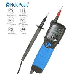 HoldPeak ручной Ручка Тип Цифровой мультиметр DC/AC Измеритель напряжения сопротивление Диод Непрерывность тестер Подсветка ЖК-дисплей