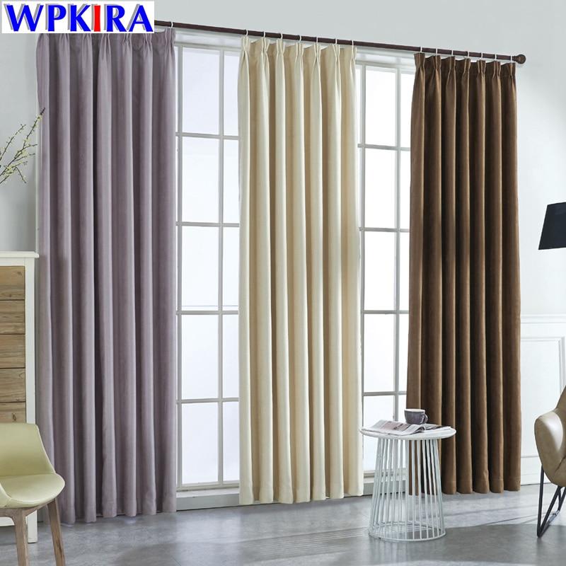 Modern Solid Suede Blackout Beige Curtains For Living Room Bedroom