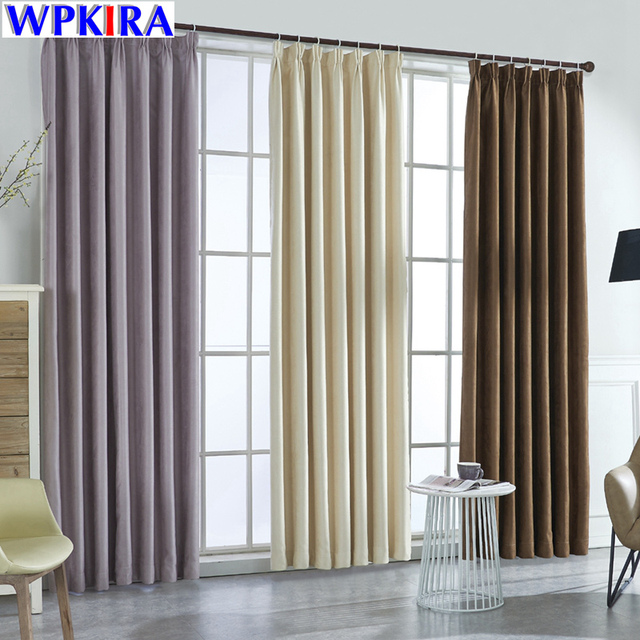 Modern Solid Suede Blackout Beige Curtains For Living Room Bedroom Luxury Black Out Cloth Purple