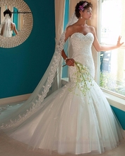 Exquisite Mermaid Wedding Dresses Delicate Beaded Court Train Tulle 2016 Custom Made Bridal Gown robe de mariage