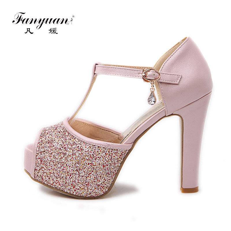 Fanyuan Bling Wedding Shoes Women 2018 Sexy Peep Toe Buckle Strap Summer Pumps Girls High Heels Platform Glitter Shoes Big Size morazora large size 34 48 2018 summer high heels shoes peep toe sweet wedding shoes shallow women pumps big size platform shoes