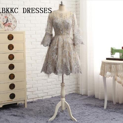 Long Sleeves Lace Cocktail Dresses With Feather Knee Length Short Prom Dress Vestido De Festa Court
